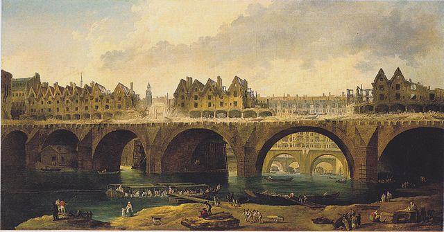 Hubert Robert (1733-1808), « Destruction des maisons du Pont-Neuf », huile sur toile, vers 1786, Karlsruhe, Staatliche Kunsthalle.