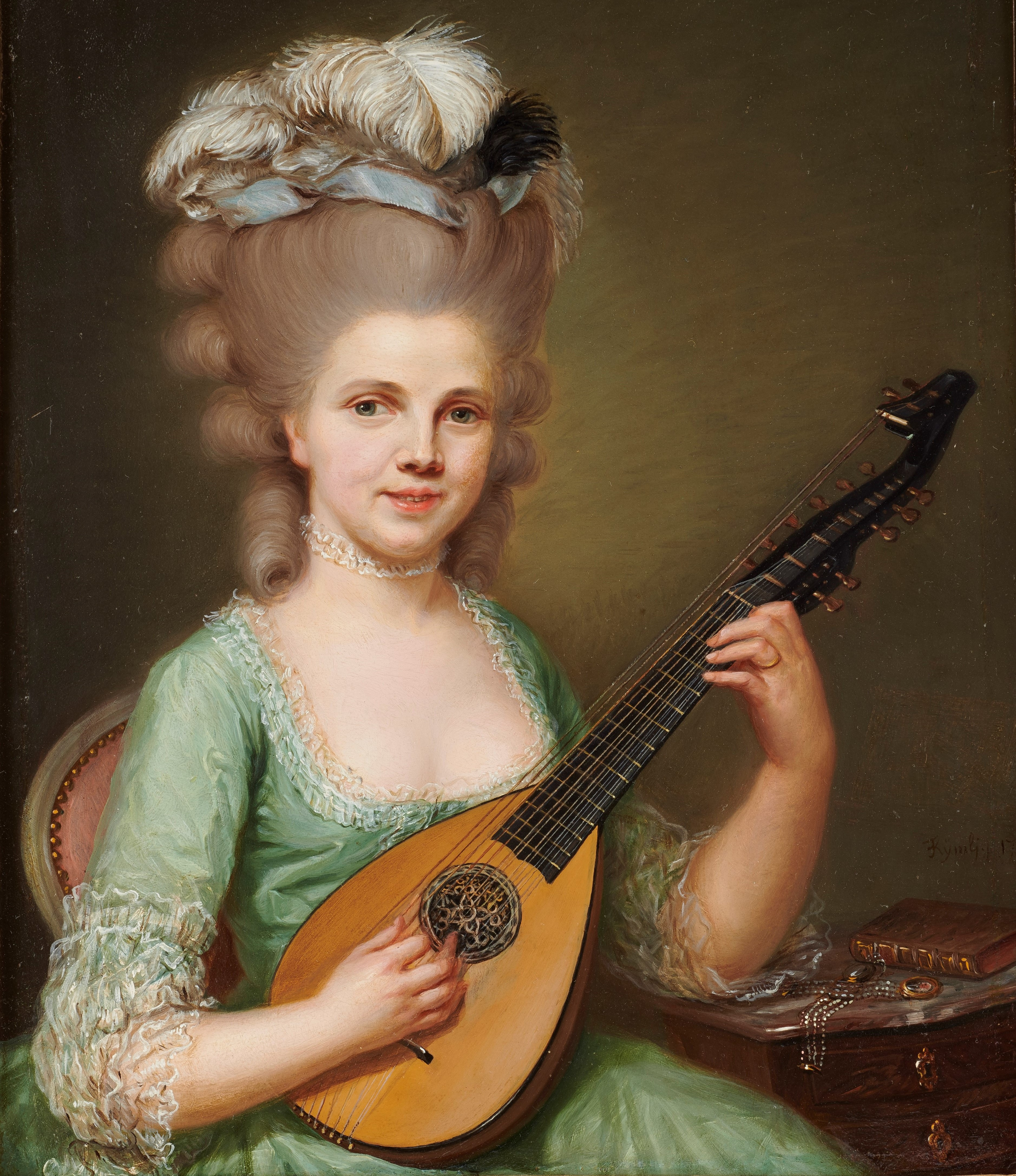 073_Jeune femme jouant de la mandoline Franz Peter Joseph Kymli ©CPDAHS_Photo Thierry Ollivier