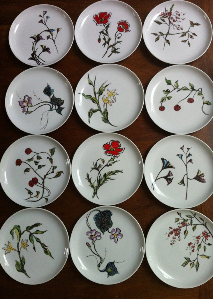 assiettes fleurs