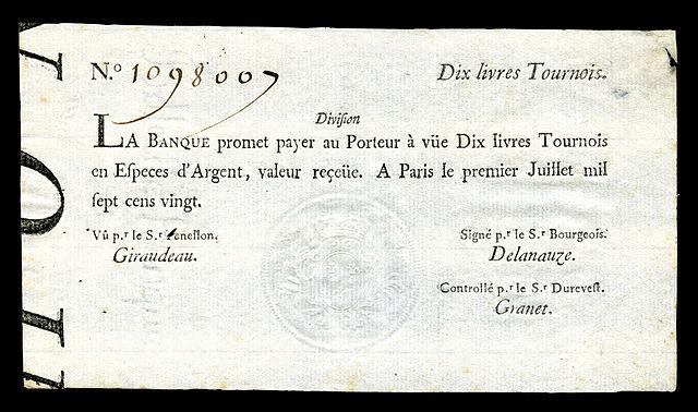 05 billet La_Banque_Royale-10_livres_Tournois_(1720)