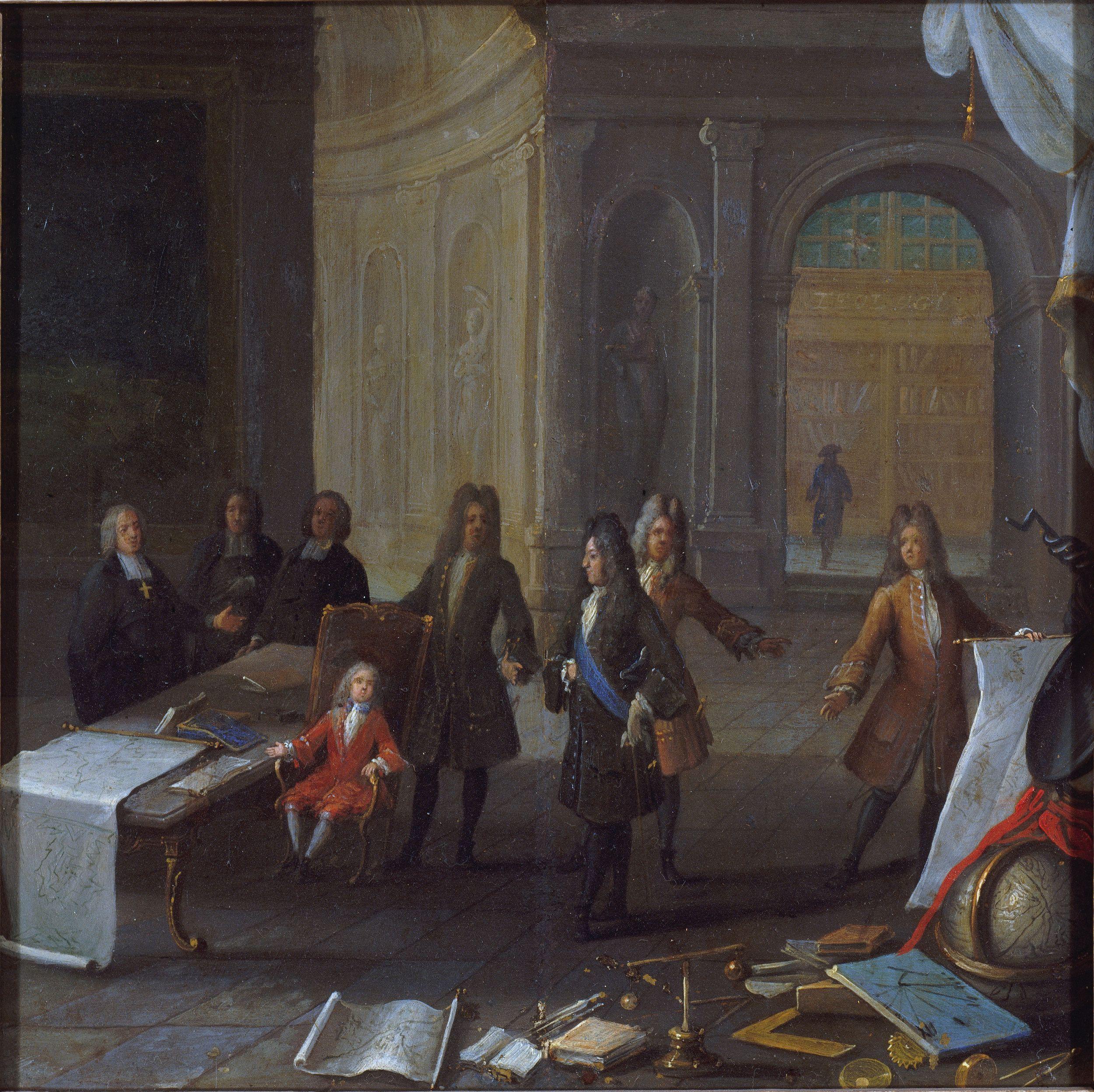 LOUIS XV ENFANT RECEVANT UNE LECON, EN PRESENCE DU CARDINAL DE FLEURY ET DU REGENT